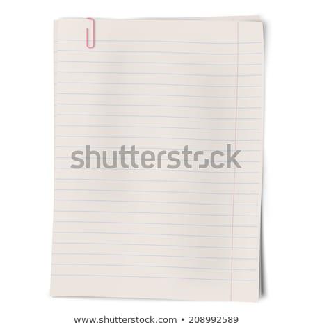 Roze gestreept paperclip geïsoleerd witte papier Stockfoto © tetkoren