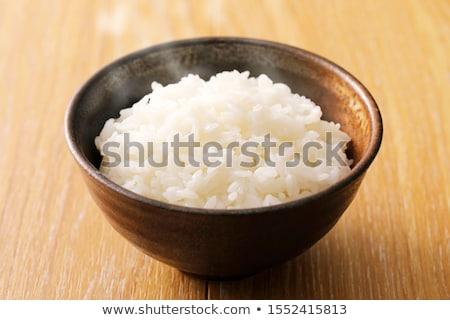 Bruin rijst houten kom jute doek Stockfoto © raphotos