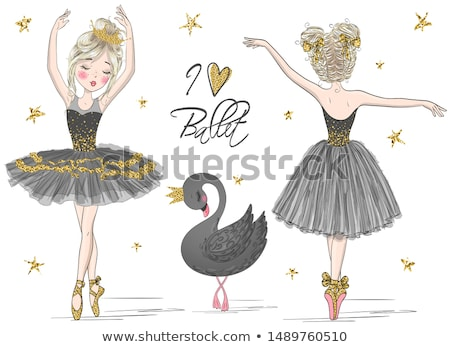 Two cute swans in ballet dance Stock photo © konradbak