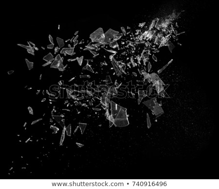 Shattered or smashed glass: sharp Pieces on black Stock photo © Arsgera