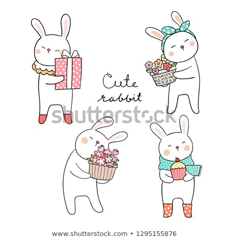 Bunny Rabbit on Pink Polka Dot Box Stock photo © tobkatrina