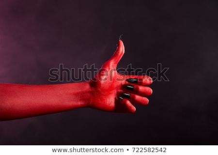 Rood duivel hand tonen Stockfoto © Elisanth