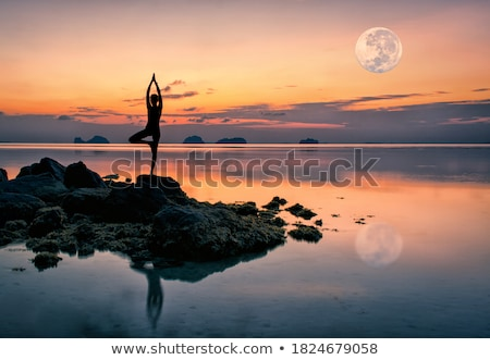 Yoga against the orange sky Stock photo © HASLOO