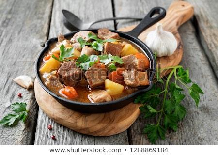 мяса тушеное мясо овощей обеда Кука морковь Сток-фото © M-studio