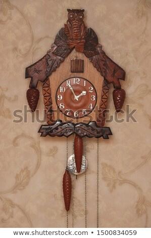 Zegar drewna czasu meble retro Zdjęcia stock © amok