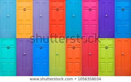 Stockfoto: Kleurrijk · deuren · rij · strand · deur · groene