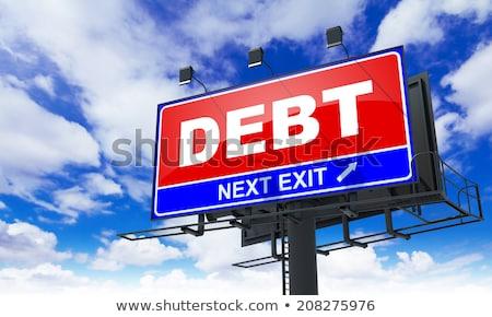 Felirat piros óriásplakát égbolt üzlet felirat Stock fotó © tashatuvango
