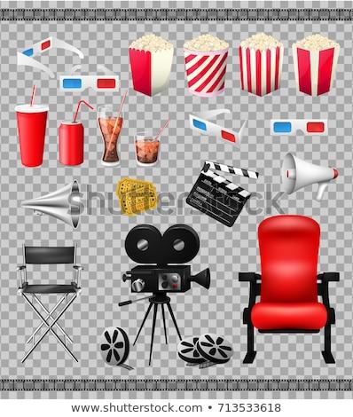 Stok fotoğraf: Kırmızı · şeffaf · film · makarası · ikon · yalıtılmış · beyaz
