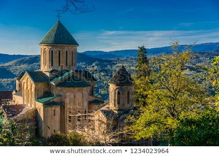 Monasterio Georgia famoso sol día cruz Foto stock © joyr