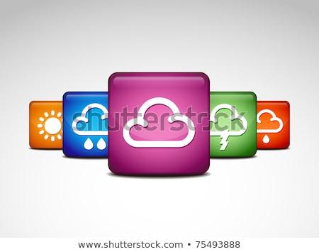 sunny cloud green vector icon button stock photo © rizwanali3d