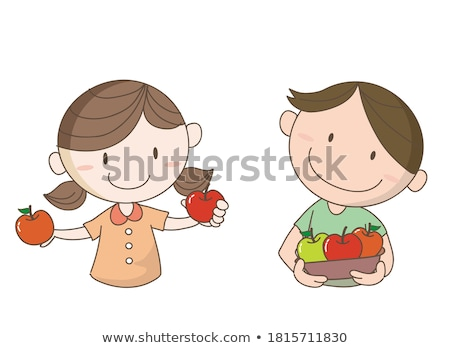 Little farmer boy tasting fresh apple Stock photo © erierika