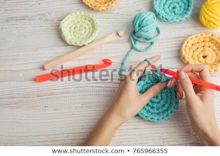 текстуры ручной работы вязанье работу синий серый Сток-фото © ozgur