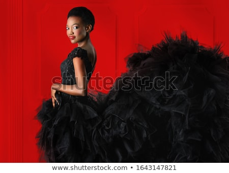 Glam. Luxurious Fashion Model in Black Dress Stock photo © gromovataya