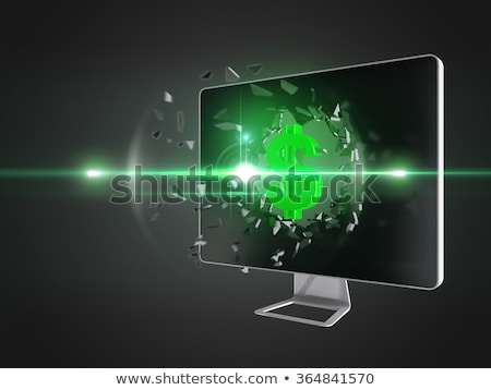 Green dollar sign destroy computer screen. Stock photo © teerawit