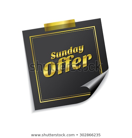 Sunday Offer Golden Sticky Notes Vector Icon Design Stock photo © rizwanali3d