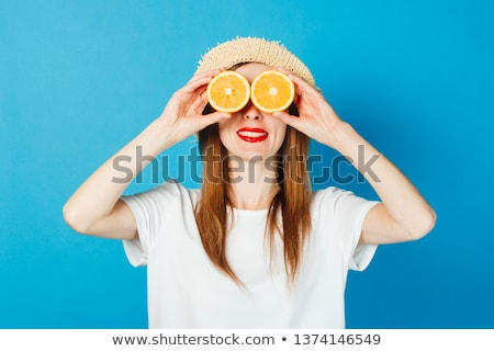 Foto stock: Menina · laranja · corpo · desgaste · belo · mulher · jovem