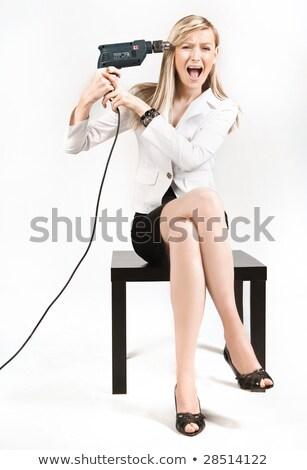 Foto stock: Jovem · secretário · problema · sorrir · mulheres · trabalhar