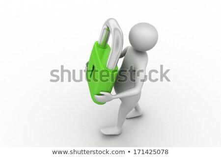 homem · escada · branco · isolado · 3D · imagem - foto stock © iserg