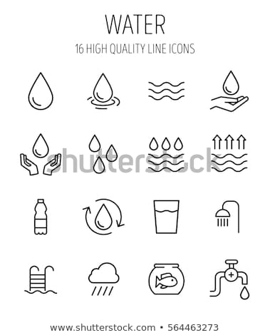Stock photo: Faucet with water drop line icon.