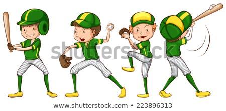 Szkic baseball gracze zielone uniform ilustracja Zdjęcia stock © bluering
