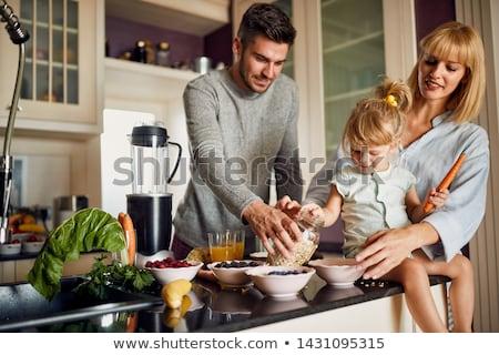 blender making fruit juice at home stock photo © zurijeta