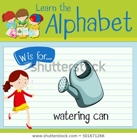 Flashcard letter W is for dwatering can Stock photo © bluering