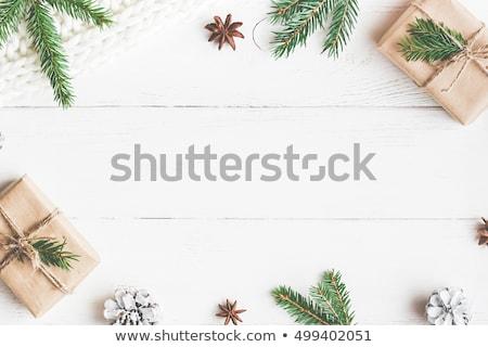 Fából készült karácsony barna fehér hó pelyhek Stock fotó © X-etra