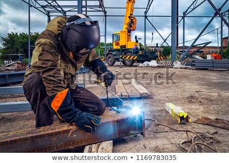 Soldador soldagem oficina maduro dois metal Foto stock © stevanovicigor