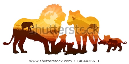 family of lions in the savannah Stock photo © adrenalina