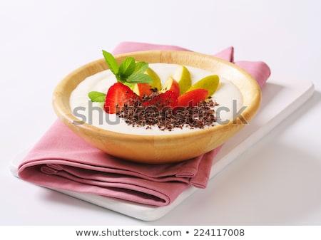Pudim de arroz maçã chocolate tigela leite pudim Foto stock © Digifoodstock