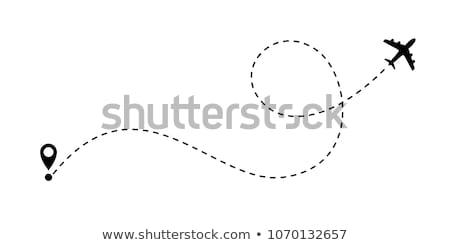 ilustração · 3d · avião · pôr · do · sol · céu · voador · nuvens - foto stock © goce