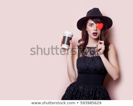 Fotó csésze kávé csodálatos lila üveg Stock fotó © Massonforstock