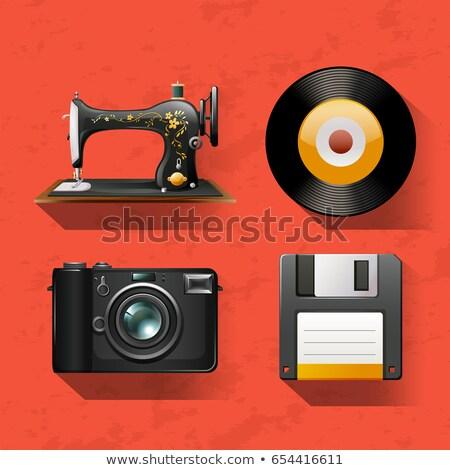Vintage швейные машины компьютер искусства красный цифровой Сток-фото © bluering