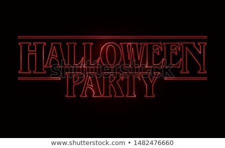 halloween · partij · tekst · logo · vector - stockfoto © thecorner
