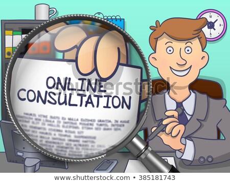 Online overleg lens doodle zakenman papier Stockfoto © tashatuvango