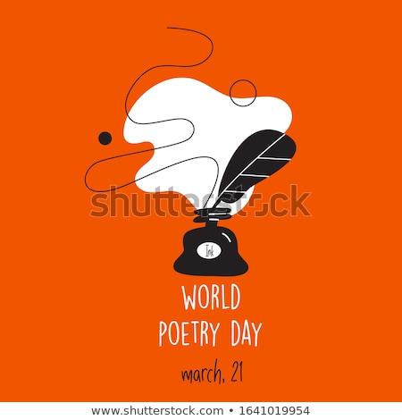 Welt Poesie Tag Kalender Grußkarte Urlaub Stock foto © Olena