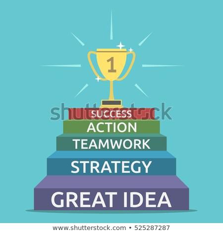 action plan   cartoon blue word business concept stock photo © tashatuvango