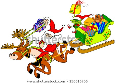 Santa Claus Christmas Fling Sleigh Sled Reindee Foto stock © zooco