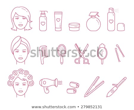 Girl with hair curler spraying perfume Stock photo © IS2