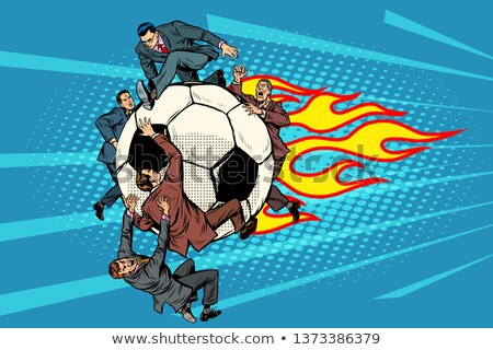 the football is flying like a meteor competition of politicians stock photo © studiostoks