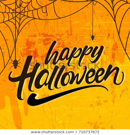 Pókháló szöveg boldog halloween üdvözlőlap izolált Stock fotó © orensila