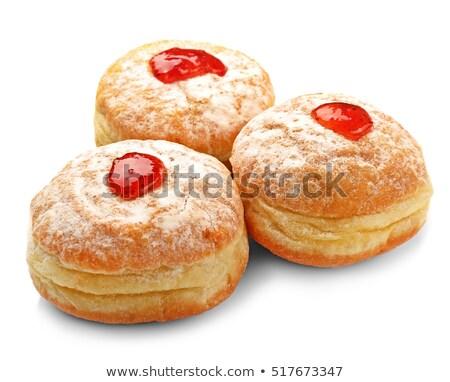 おいしい · ドーナツ · ジャム · 白 · 赤 · 朝食 - ストックフォト © ungpaoman