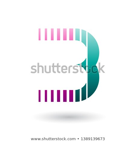 Magenta and Green Letter B Icon with Vertical Stripes Stock photo © cidepix