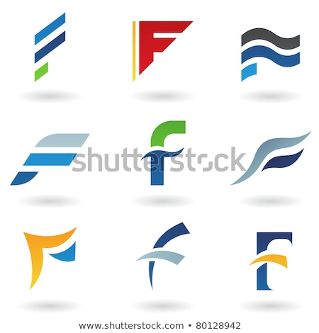 Stock photo: Orange Icon of Letter F with a Triangle Vector Illustration