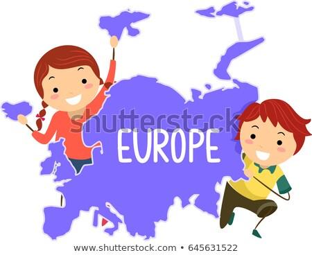Crianças continente europa ilustração europeu Foto stock © lenm