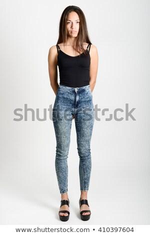 17 · brunette · zwarte · top · trainers · meisje - stockfoto © acidgrey