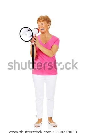 Idős nő kiabál megafon kaukázusi citromsárga Stock fotó © NeonShot