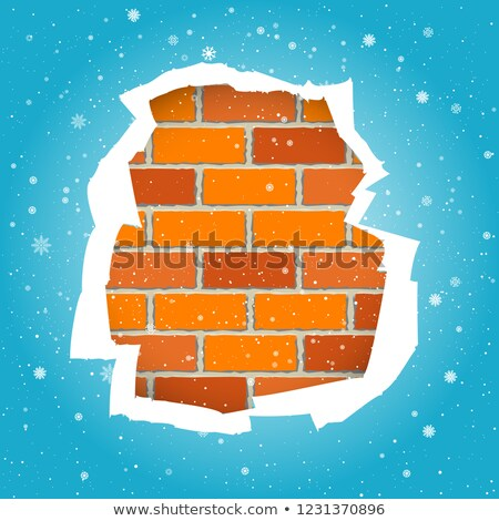 Snowfall and blue paper torn wall Stock photo © romvo