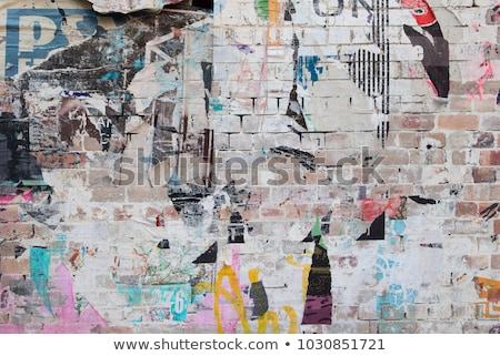 torn wallpapers white brick wall Stock photo © romvo