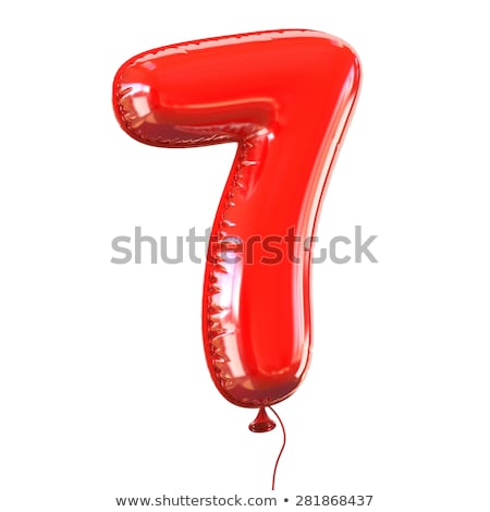 Red glossy font Number 7 SEVEN 3D Stock photo © djmilic